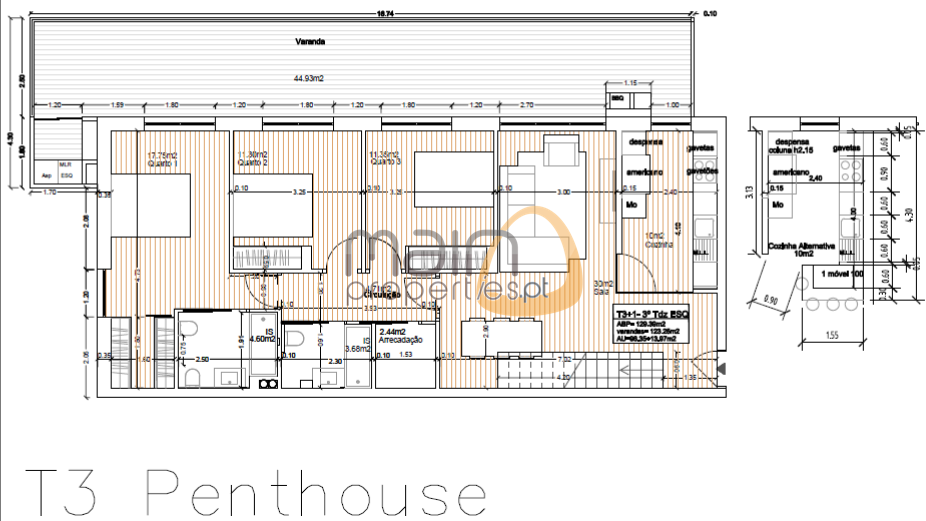 Penthouse with 3 bedroom - apartment area